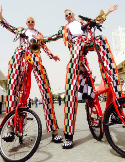 Stilt bicycle entertainers
