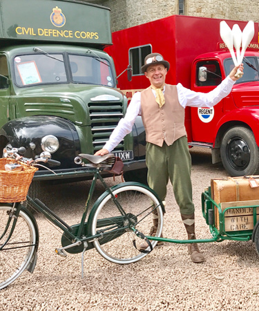 Vintage bicycle show with circus performance - bicycles with a vintage bicycle theme